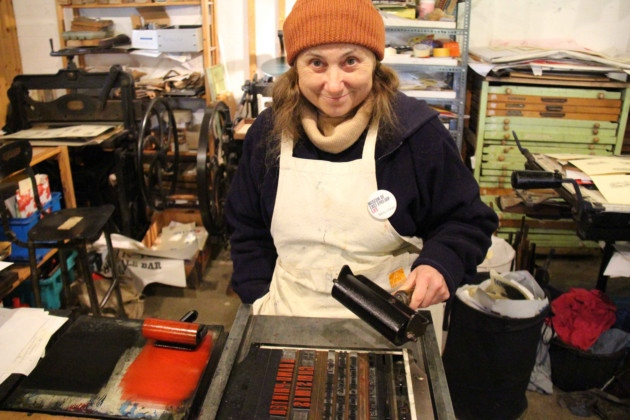 Monique Burnell from the Museum of East Anglian Life training with a press. Picture: Michael James Stamper