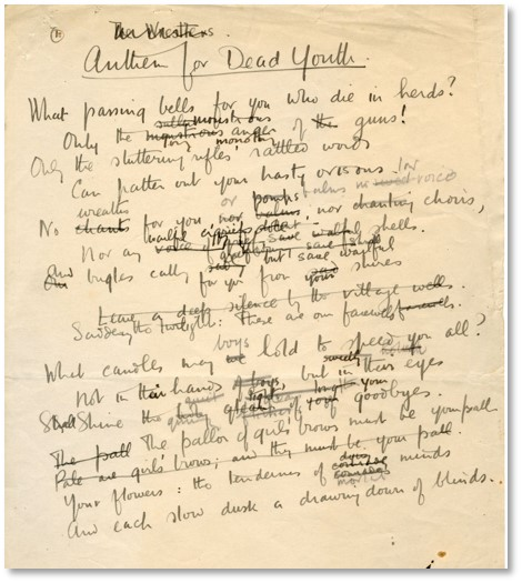 Draft manuscript of 'Anthem for Doomed Youth' by Wilfred Owen